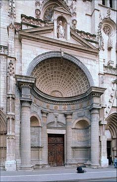 Denticulated Doric: the portal attributed to Philibert de l'Orme, completed in 1581; church of Saint Nizier; Lyon; France.