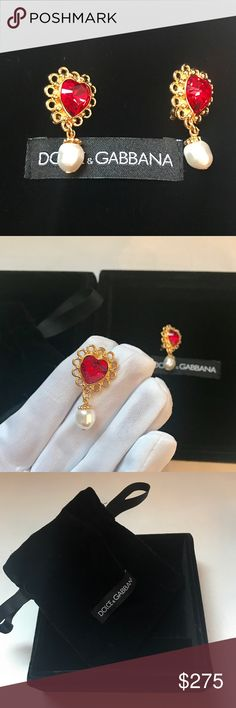 Auth Dolce&Gabbana st. Valentines heart clip on These LIMITED EDITION St.Valentine clip-on earrings are brand new and made of gold galvanized metal.  feature red Swarovski crystal hearts.  The materials used in Dolce&Gabbana jewelry are anti-allergic and nickel-free.  Included Original jewelry box, jewelry pouch.  They are very eye catching! So Dolce& gabbana! Hall mark: dolce&gabbana  Location: on clip  Great gift to treat yourself or your love ones!  Please check out my other listings for…