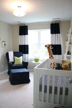 I spy @Pottery Barn Kids crib sheets and window panels in this preppy baby boy nursery! #nursery