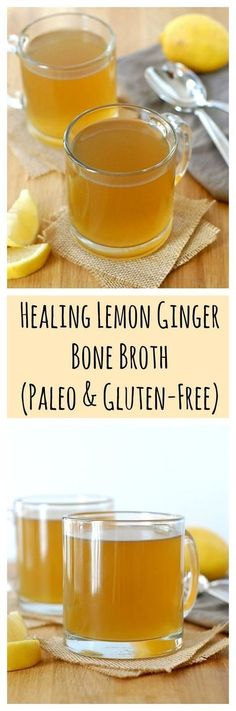 Healing Lemon Ginger Bone Broth (Paleo & Gluten-Free) - I would sub grass-fed butter, ghee, or coconut oil in this recipe! make sure your broth gels so it can help to heal you. Paleo Recipes, Soup Recipes, Cooking Recipes, Coctails Recipes, Dishes Recipes, Free Recipes, Smoothies, Clean Eating, Healthy Eating