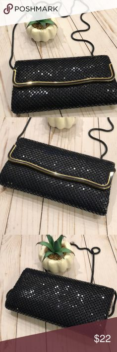 Stunning Navy Sequined Purse Perfect for an evening out on the town. Magnetic closure, inside zippered pocket., gold trim. Hangs 25inches. 4.5x8.25. LeRegale Bags
