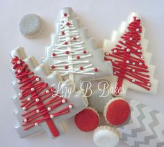red, white, and silver christmas cookies