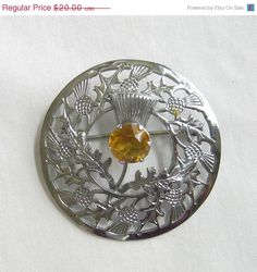 Pewter Celtic Scottish Thistle Brooch Pin Vintage Style Red Abalone Shell