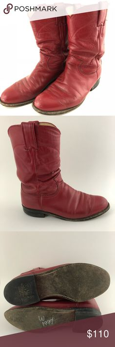 Vintage red western boots Vintage Justin boots, excellent condition! Questions and offers welcome! Justin Boots Shoes Cowboy & Western Boots