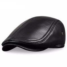 Men s Leather baseball Cap brand new style sheep leather beret newsboy belt  hunting gatsby black caps hats 17c6e293002