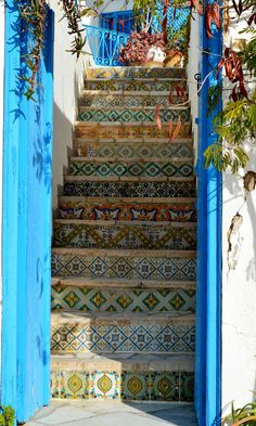 tiled stairs, tunis, africa