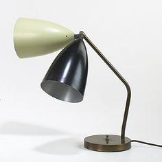 Greta Magnusson Grossman; Brass and Enameled Metal Table Lamp, 1940s.