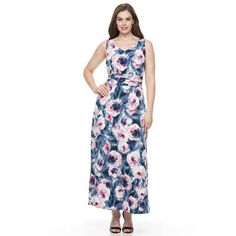 Plus Size Suite 7 Floral Watercolor Ruched Maxi Dress, Women's, Size: 18 W, Ovrfl Oth