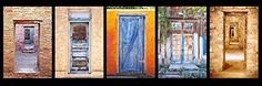 Decoration:12 x 36 inch panoramic photograph of a group of colorful Southwest Doors This image shows a grouping of five doors that each have their own unique character showing their age ** Click on the image for additional details.