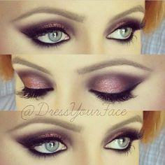 Glittery rose smokey eye.