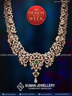 Design of the Week - A brilliant display of beauty describes this beaming and terrific symbol of perfection.   #suman_jewellery #design #haram #stones