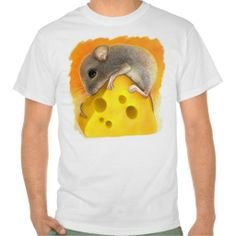 Mouse on cheese Realistic Painting Tee Shirt.