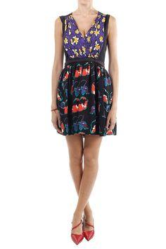 MIU MIU Women New original sleeveless dress black flower pattern made in italy #MIUMIU