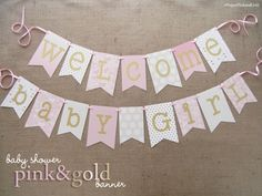 Pink and Gold Baby Shower Banner | Welcome Baby Girl by JacqsCraftyCorner on Etsy https://www.etsy.com/listing/233786286/pink-and-gold-baby-shower-banner-welcome