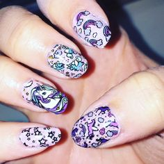 Rainbow unicorn nails reverse stamping holographic pink advanced bmc