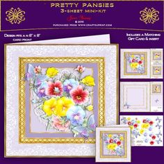Pretty Pansies on Craftsuprint designed by June Young - A bouquet of mixed colour Pansies embellished with toning butterflies. Set in a layered gold and lace frame. This kit includes decoupage for the flowers and butterflies, a matching gift card, two smaller toppers and a matching insert. There are six greetings plates, one is blank for your own lettering. - Now available for download!