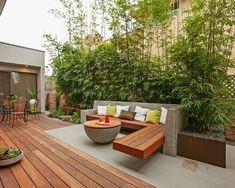 terrassengestaltung garten bambuspflanzen sichtschutz beton holz sitzbank tisch