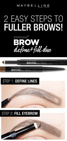 Two easy steps to fuller, natural looking brows using the Maybelline Define and Fill Duo! First, use the micro tip to define the lines around the brows. Next, use the powder side to fill the eyebrow for natural looking fullness. Want to find your perfect brow? Click through to try the Brow Play Studio by Maybelline!