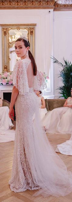 BERTA Bridal Collection Presentation in London. Hosted by our stockist The Wedding Club, at One Belgravia.  Picture by Nadine van Biljonn | hair Gustav Fouche | Makeup Team-Glam | Headpieces Tallulah Strinkets | Earrings Terry Eleftheriou | Flowers Petaltothemetal