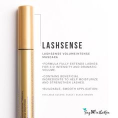 Black LashSense VolumeIntense WaterResistant Mascara by SeneGence is a richly pigmented mascara that evenly coats, seperates, volumizes and shapes your lashes.  Also provides moisture to lashes and is waterproof. #waterproof  #mascara #lashsense #senegence #blacklashsense #lashes
