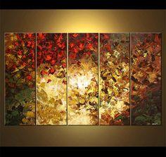 Paisaje de árboles florecientes pintura Original acrílico