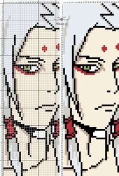 Kimimaro from Naruto Crochet Bookmarks, Cross Stitch Bookmarks, Beaded Cross Stitch, Cross Stitch Art, Cross Stitching, Cross Stitch Patterns, Pixel Pattern, Pattern Art, Modele Pixel Art