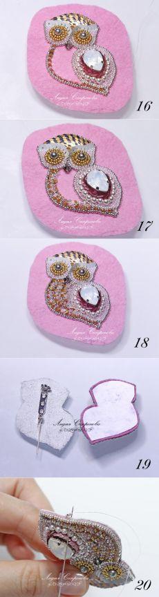 Broche avec cristal, perles et paillettes.  Atelier - Foire Masters - faits à la main, fait main