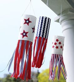 Festive Flags - Show your pride this Fourth of July or Memorial Day with these all-American decorations. Hang homemade wind socks in red, white, and blue, and let your spirit fly! 4th July Crafts, Patriotic Crafts, Patriotic Party, 4th Of July Party, July 4th, Fourth Of July Crafts For Kids, Patriotic Flags, Summer Crafts, Holiday Crafts