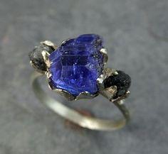 Raw Diamond Tanzanite Gemstone 14k White Gold Engagement Ring Wedding Ring One Of a Kind Gemstone Ring Bespoke Three stone Ring by Angeline