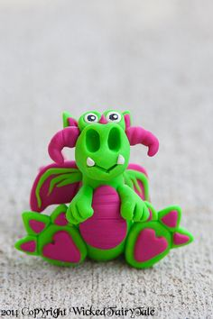 Sour Grape Dragon  Hot Pink Fuchsia and Lime by WickedFairyTaleArt