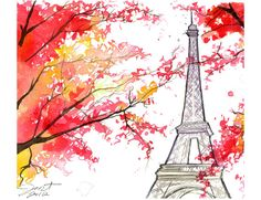 Paris in the Fall, print from original watercolor illustration by Jessica Durrant