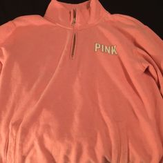 Zip up pull over Hot pink Victoria secret jacket . It has been worn and washed . Victoria's Secret Jackets & Coats