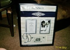 wedding shadow box  wedding belt, cake topper, invitation, marriage certificate