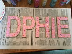 Donut painted sorority wood letters delta phi epsilon #donut #dphie #deltaphiepsilon #sorority  #diy Sorority Letters, Sorority Canvas, Sorority Crafts, Sorority Life, Sorority Paddles, Sorority Recruitment, Painted Letters, Wood Letters, Delta Phi Epsilon