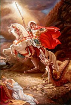 Uros Predic Painting of St. George and the Dragon (The Female figure is Aleksandra) Saint George And The Dragon, Angel Clouds, Baroque Painting, Pale Horse, Angel Warrior, Archangel Michael, Orthodox Icons, Patron Saints, St Michael