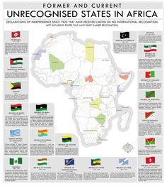 Former and current unrecognised states in Africa - Vivid Maps Africa Map, Alternate History, Fantasy Map, Declaration Of Independence, African History, African Empires, Historical Maps, World History, European History
