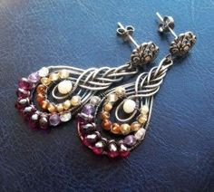 Wire Wrapped Earrings with gemstone beads by Jersica