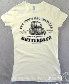 Harry Potter Shirt Butterbeer Womens Fitted & Stretchy Ringspun Cotton Tee. At The Three Broomsticks! Great For PotterWorlds, Comicon, etc!