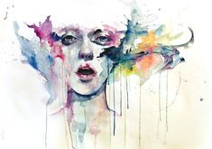 Beautiful water color portrait that uses dripping paint to add an emotive feel to the painting