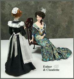 Maid and Esther Victorian Maid, Victorian Dolls, Victorian Women, Vintage Dolls, Dollhouse Dolls, Miniature Dolls, Antique Dollhouse, Miniature Crafts, Pretty Dolls