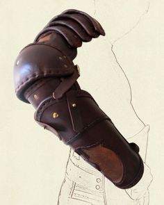 Articulated arm armor sold by Battle Ready. Sca Armor, Samurai Armor, Leather Armor, Leather Tooling, Gladiator Armor, Biker Wear, Costume Armour, Grandeur Nature, Steampunk Costume