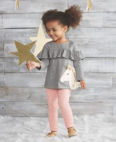 Look at this Gray Ruffle-Accent Unicorn Tunic & Light Pink Leggings - Infant, Toddler & Girls Tunic Leggings, Girls In Leggings, Pink Leggings, Cotton Leggings, Little Girl Fashion, Fashion Kids, 50 Fashion, Toddler Fashion, Fashion Clothes