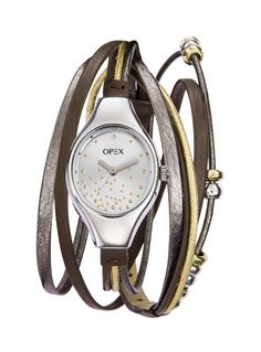 Opex - X2341LD4 - Filante - Montre Femme - Quartz Analogique - Cadran Argent - Bracelet Cuir Multicolore: Amazon.fr: Montres