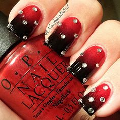 Instagram photo by newlypolished #nail #nails #nailart - ombre red with crystals...x