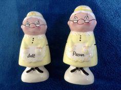 1960 Napco Grandma in Yellow Apron Salt & Pepper Shakers Herman Newhouser Newhaus Signed