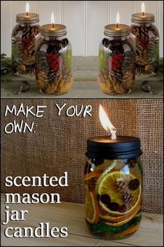 Fill your home with wonderful aromas by making these DIY scented mason jar candl. - Fill your home with wonderful aromas by making these DIY scented mason jar candl. Fill your home with wonderful aromas by making these DIY scented m. Velas Diy, Pot Mason Diy, Mason Jar Projects, Navidad Diy, Mason Jar Candles, Diy Candles Scented, Diy Candle Lamp, Gifts In Mason Jars, Homemade Candles