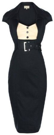 Chic Vintage 1950's Secretary Style Black Pencil Wiggle Dress