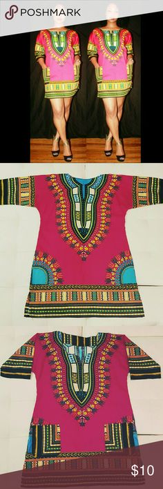 Pink Dashiki can be worn as a shirt or a dress Dresses