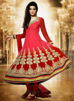 $123 Ravishing Red Ankle length Anarkali Suit