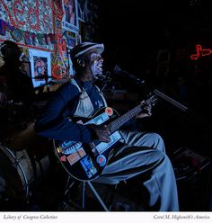 """Terry """"Harmonica"""" Bean singing the blues at Red's Blues Club in Clarksdale, Mississippi. Wow, what a sound! Photo, April 22, 2016. Photographer Carol M. Highsmith's America, Library of Congress Prints and Photographs Division."""